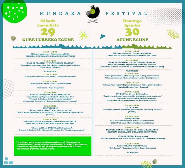 Mundaka, festival, 2017, horarios, cartel, gastronomía