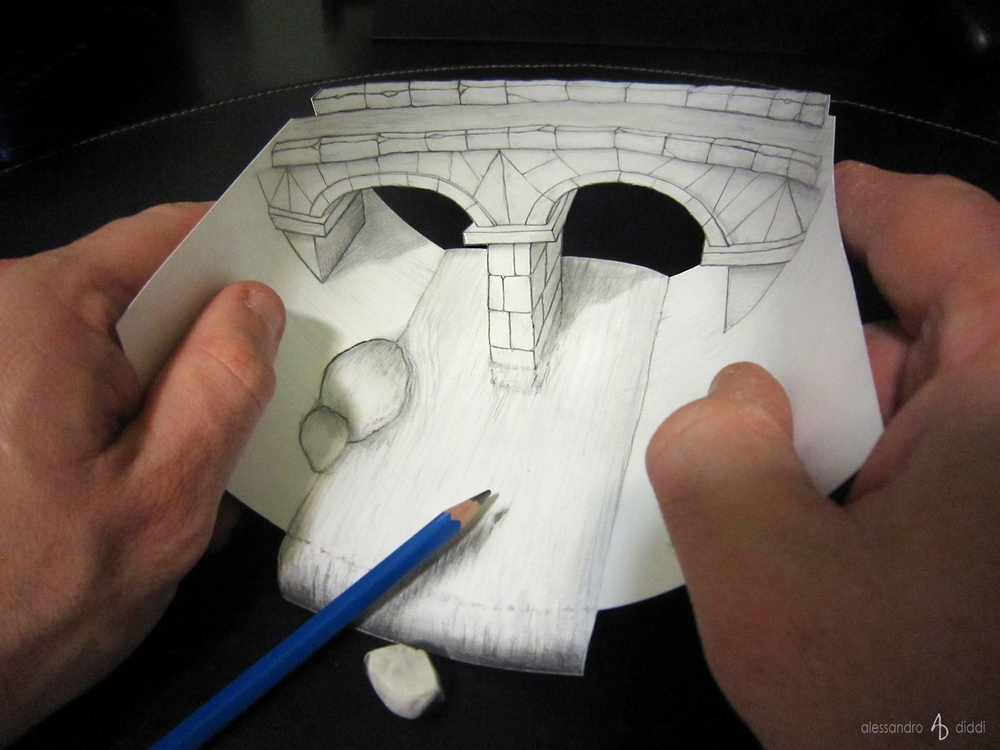 03-Curved-Bridge-Alessandro-Diddi-Anamorphic-Optical-Illusions-that-look-like-3D-Drawings-www-designstack-co