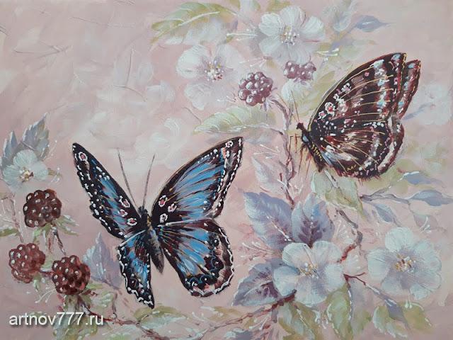 Картина на холсте 30х40см. Бабочки в ягодах
