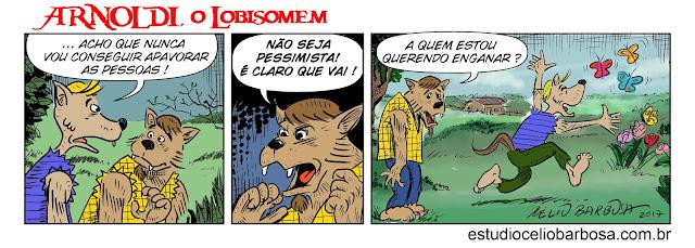 Arnoldi, o Lobisomem tiras hq quadrinhos humor