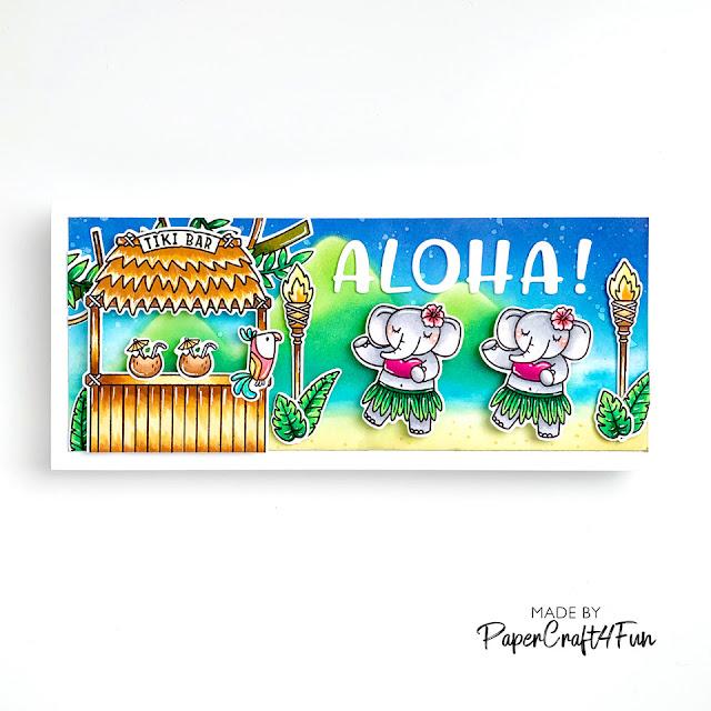 Sunny Studio Stamps: Tiki Time Tropical Scenes Chloe Alphabet Summer Themed Card by Jane Trivedi