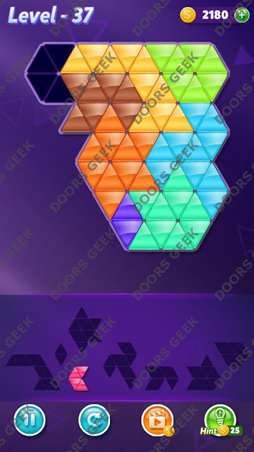 Block! Triangle Puzzle 8 Mania Level 37 Solution, Cheats, Walkthrough for Android, iPhone, iPad and iPod