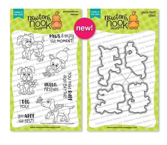 Puppy Friends Stamp Set and Die Set by Newton's Nook Designs #newtonsnook