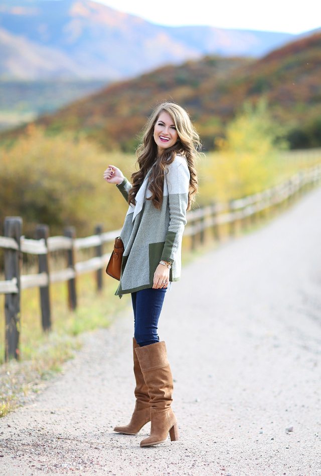 Colorblock cardigan with OTK boots
