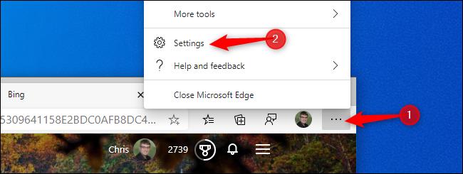 انقر فوق القائمة> الإعدادات في Edge