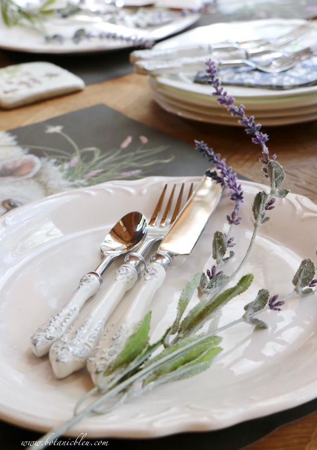 Whimsical Summer Lavender Tablesetting has French Country White Scroll flatware