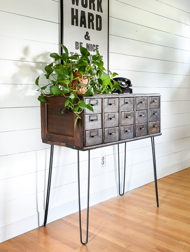 Vintage card catalog on hairpin lets