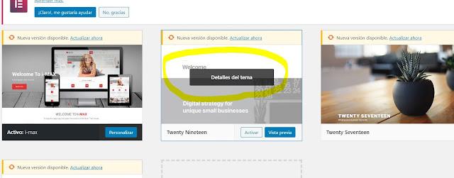 Cuando ya hayas desactivado el tema que deseas desinstalar da clic sobre la imagen de preview del tema en el botón que indica DETALLES DEL TEMA.