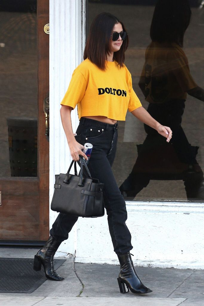 Selena Gomez Casual Chic Outfit – Leaving Shamrock Tattoo in Hollywood