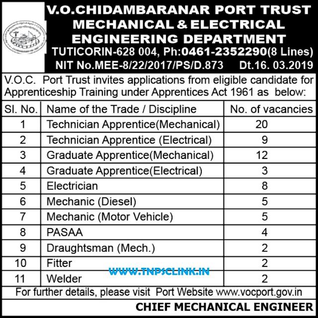 VOC Port Trust Tuticorin Apprenticeship Recruitment Notification 2018