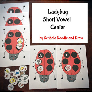 Interactive short vowel center with ladybugs for grade 1