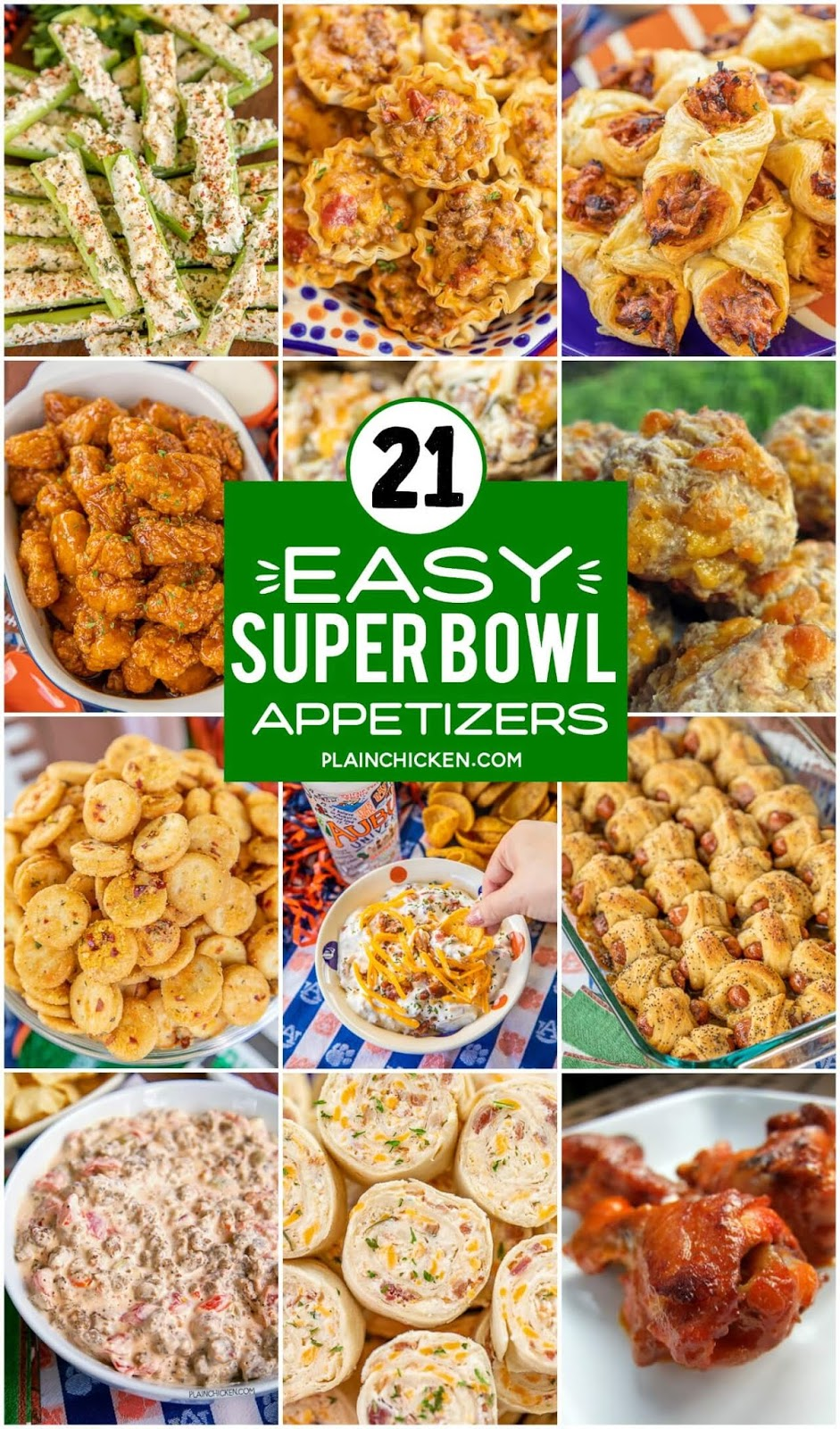 Collage of super bowl party appetizers