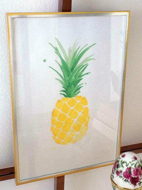 Pineapple printable in gold frame