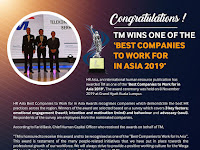 "Congratulations! TM is one of the ""Best Companies to Work for in Asia 2019"""