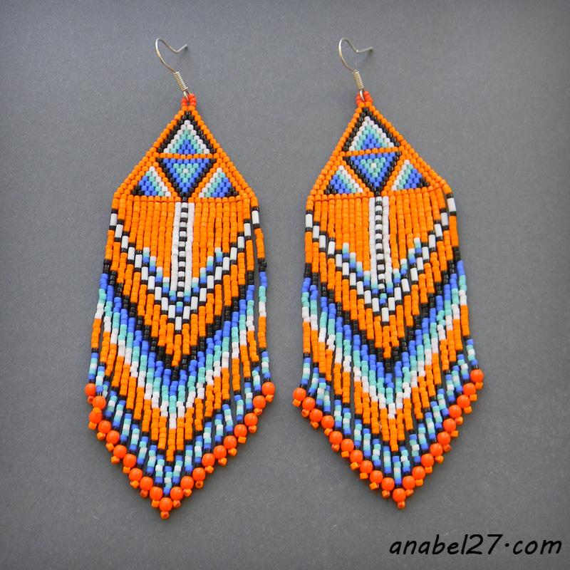 купить этнические украшения ручной работы индейские серьги