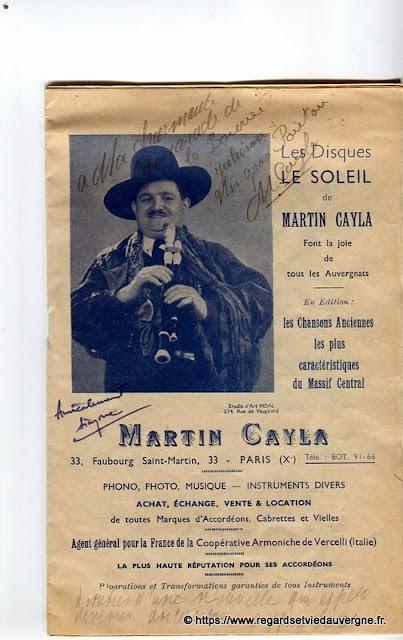 La Bourrée du Massif Central, programme 1938 Martin Cayla