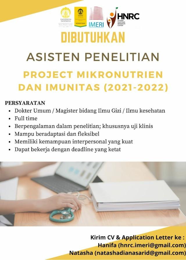 Loker Dokter Dibutuhkan Asisten Penelitian Project Mikronutrien dan Imunitas (2021-2022) FKUI