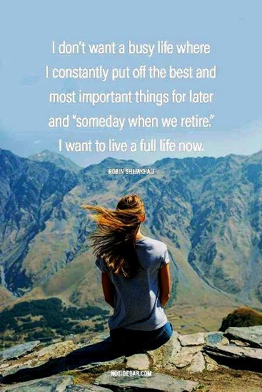 "I don't want a busy life where I constantly put things off for ""some day when we retire"" #retirementquotes"