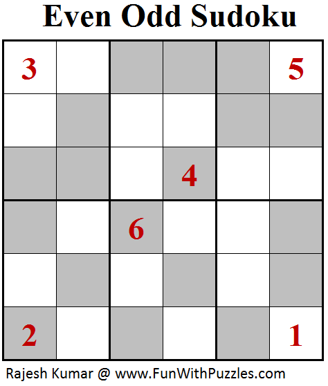 Even Odd Sudoku (Mini Sudoku Series #96)