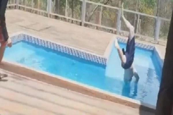 GO: homem é intubado após bater a cabeça em divisória de piscina; vídeo
