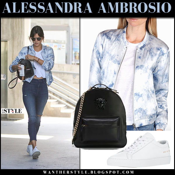 Alessandra Ambrosio in light blue tie dye bomber jacket paige x rosie hw and ripped jeans what she wore