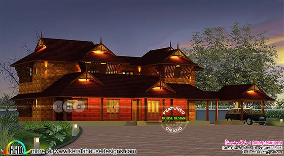 Traditional Kerala style house rendering