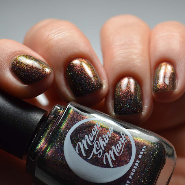 black holo multichrome nail polish swatch