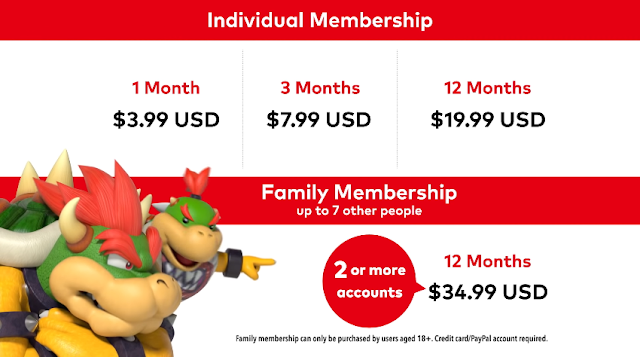 Nintendo Switch Online Bowser Bowser Jr. family membership group