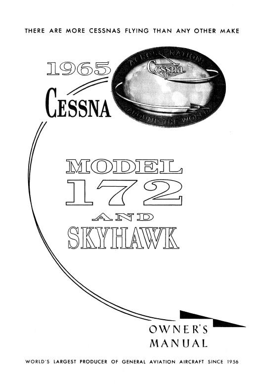Cessna 172f /& Skyhawk 1965 Owners Manual