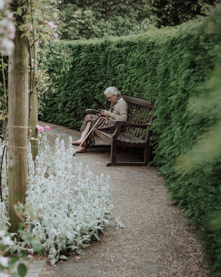 old lady on bench