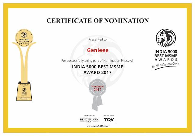 Genieee got India 5000 Best MSME Awards 2017!