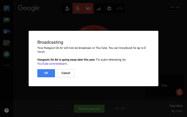 Hangouts on Air Broadcasting banner with Hangouts on Air going away notice