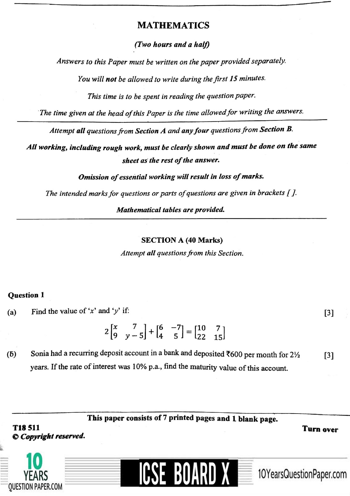 ICSE Board 2018 Mathematics Question paper page-01
