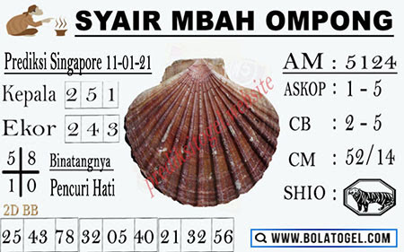 Syair Mbah Ompong SGP Senin 11-01-2021