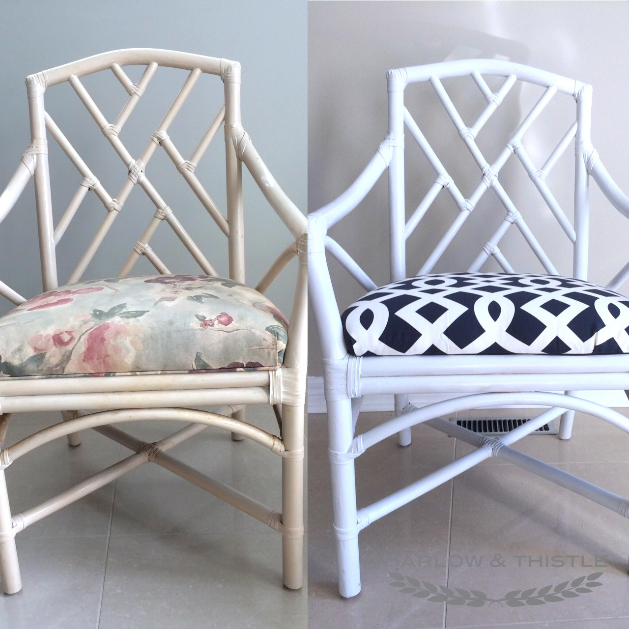 Bamboo chippendale chairs - It Needed To Be Something Bold And It Needed To Pull The Chairs Out Of The Eighties I Got This Fabric From Home Depot In