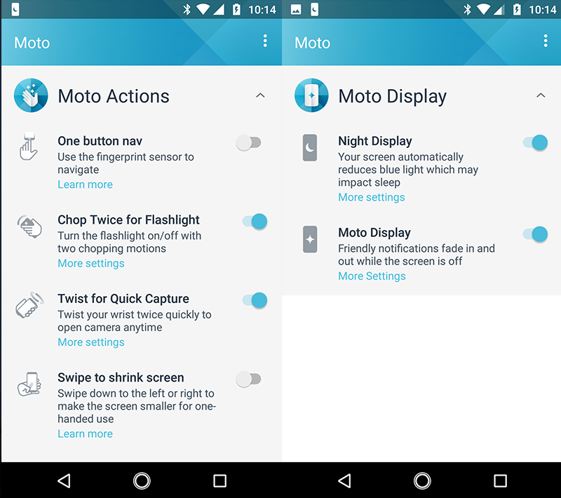 Moto added features