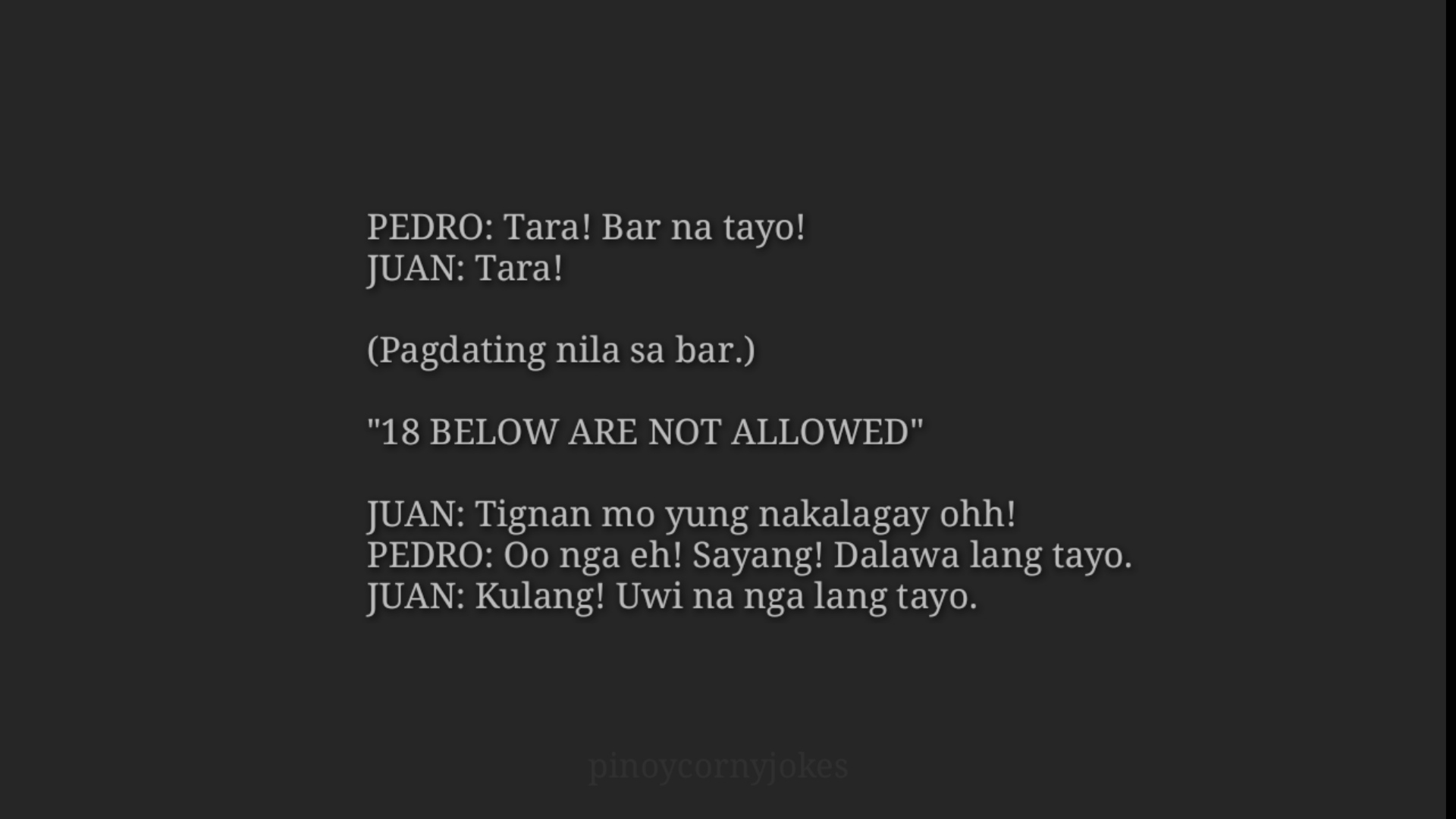 Corny Tagalog Jokes - Punta sa Bar