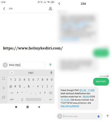 kuota internet 3/Tri gratis melalui SMS