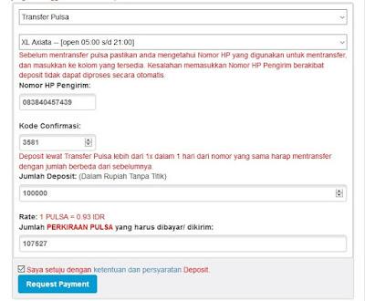 Formulir Deposit Pulsa