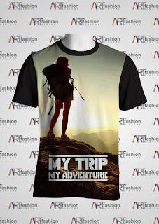 Kaos  Oblong Series My Trip My Advanture Backpacker Girl