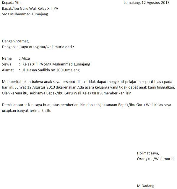 contoh surat izin sekolah karena urusan keluarga
