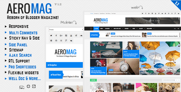 AeroMag Responsive News & Magazine Blogger Template Free Download