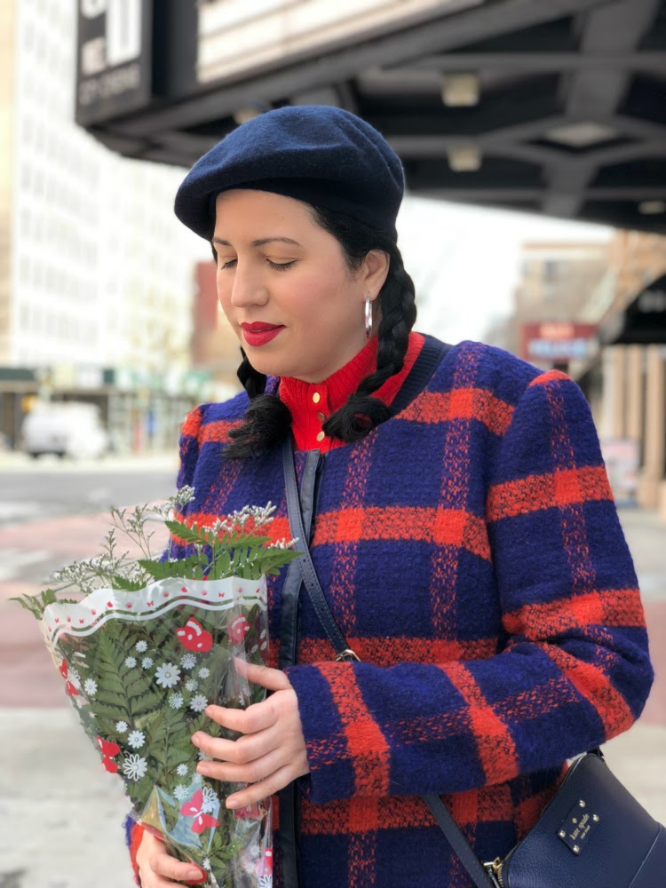 A Vintage Nerd Vintage Blog Modcloth Plaid Coat Retro Fashion Inspiration Be Inspired 1960s Fashion Inspiration NY Blogger Vintage Fashion Inspiration 1960's Pigtail Hairstyle 1960's Beret
