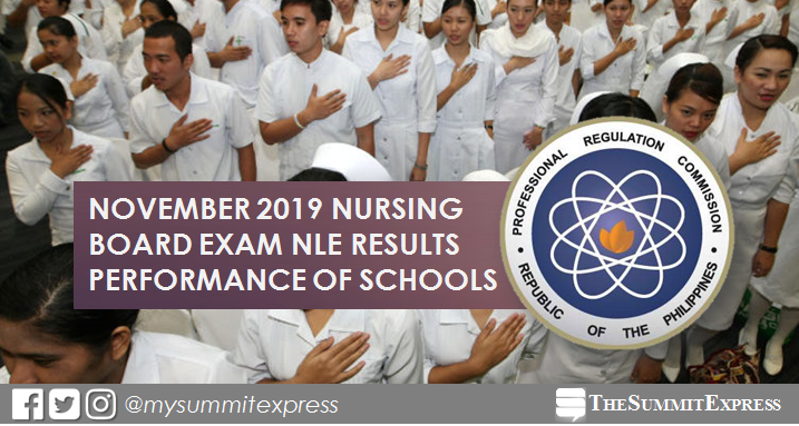 PERFORMANCE OF SCHOOLS: November 2019 NLE nursing board exam result
