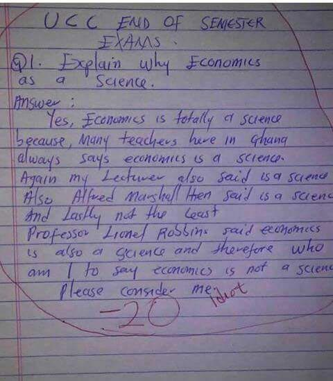 """Choi! This student's answer to exam question """"why is Economics a science"""" is damn hilarious"""