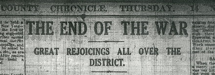 Headline from the County Chronicle, 14 November 1918 (D/WP 4/42)