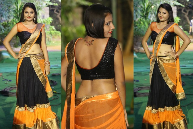 Honey in Black Half Saree