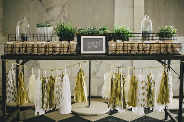 dessert table white, gold and cream and tassel garland