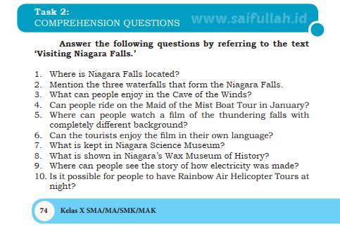 Kunci Jawaban Soal Bahas Inggris Chapter 5 Task 2 Halaman 74