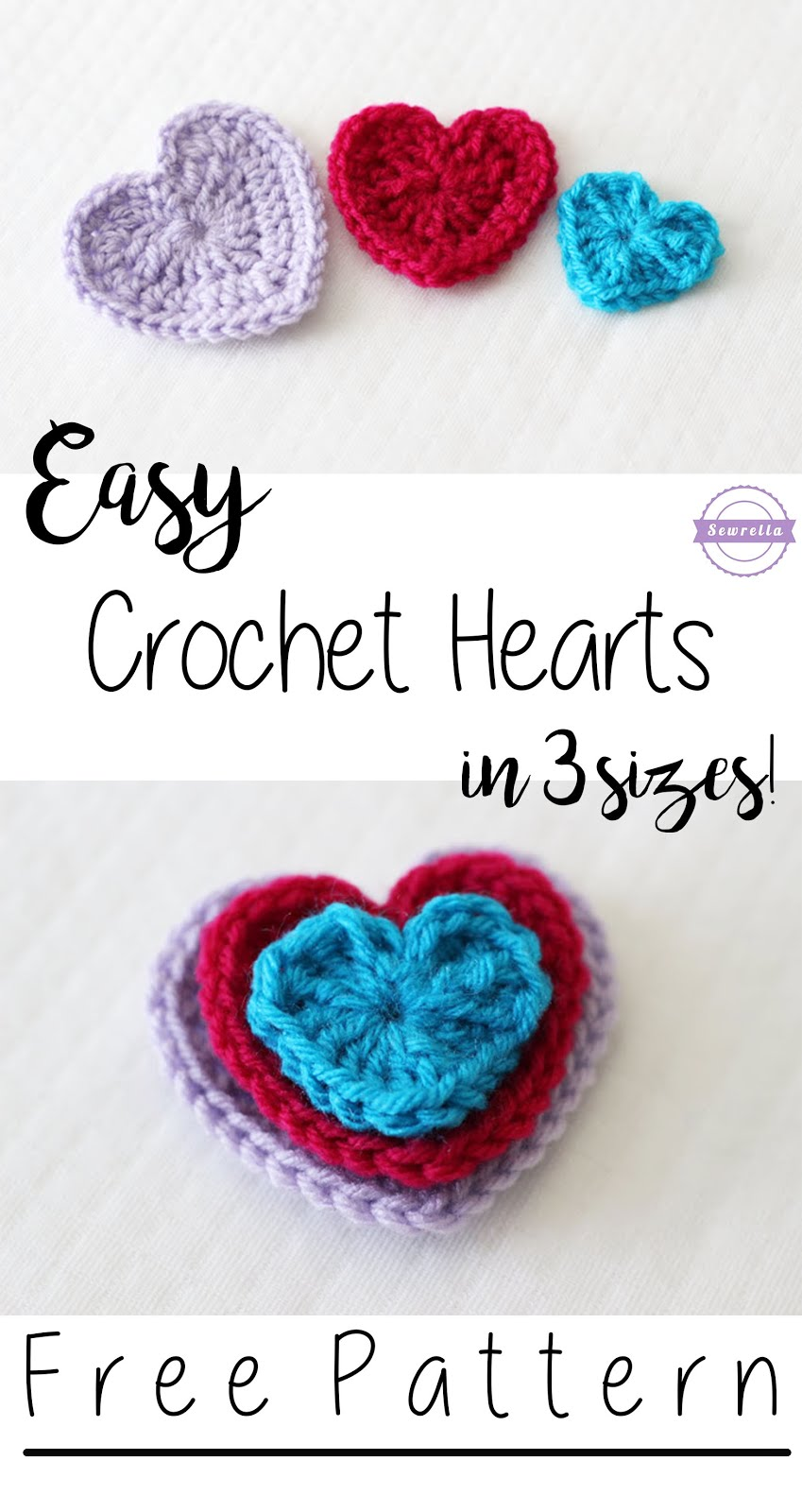 Easy Crochet Hearts - 3 Sizes - Sewrella
